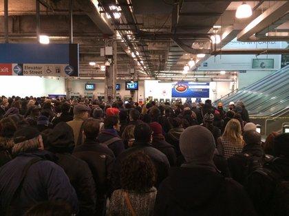 At WTC PATH station (Dan Dickinson/Gothamist)