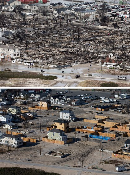 [Top] The remains of burned homes are surrounded by water due to Superstorm Sandy in the Breezy Point neighborhood of the Queens borough of New York City October 31, 2012. [Bottom] Newly built homes and vacant lots are shown in the Breezy Point neighborhood of the Queens borough of New York City October 21, 2013.