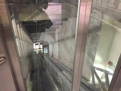 Inside the funicular elevator<br>