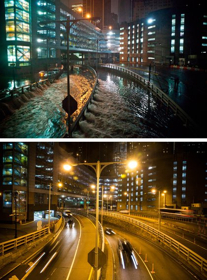 [Top] Rising water caused by Superstorm Sandy rushes into the Carey Tunnel (previously known as the Brooklyn Battery Tunnel) October 29, 2012 in New York City. [Bottom] Cars use the Carey Tunnel October 22, 2013 in New York City.