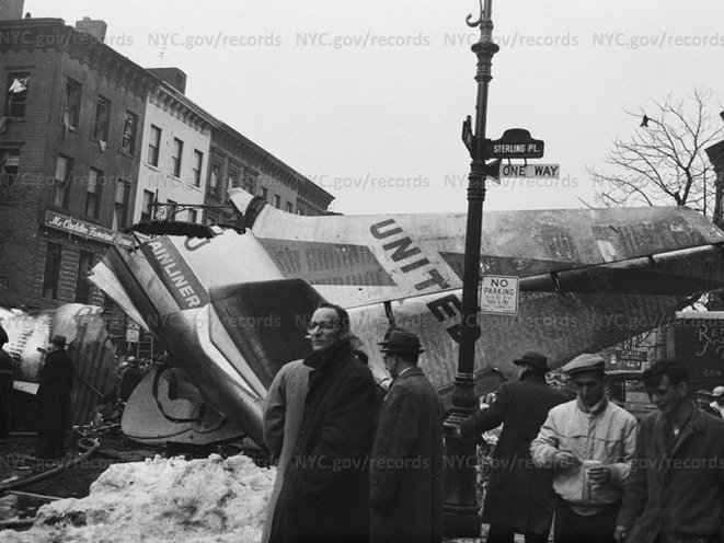 Plane crash at Sterling Place & Seventh Avenue, Brooklyn. December 16th, 1960.
