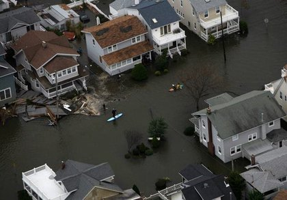 Kayakers take to the water to view Hurricane Sandy damage in Belmar, N.J. (Governor Christie's Facebook)