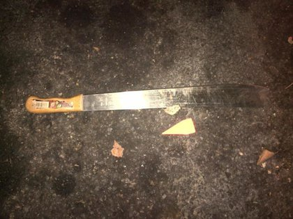 The machete allegedly brandished by the suspect