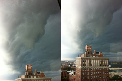 A possible tornado rotating in Brooklyn yesterday