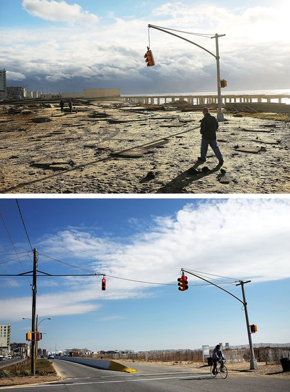 [Top] A man walks by the remains of part of the historic boardwalk, after large parts of it were washed away during Hurricane Sandy on October 31, 2012 in the Rockaway neighborhood of the Queens borough of New York City. [Bottom] A person rides a bike there on October 23, 2013.