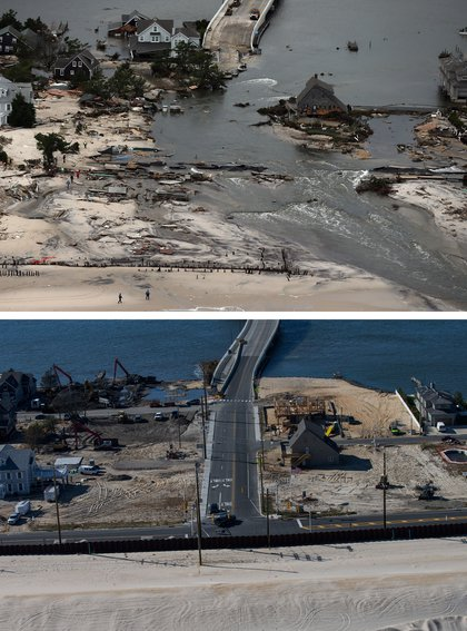 [Top] Homes built near a bridge sit destroyed due to Superstorm Sandy in Mantoloking, New Jersey October 31, 2012. [Bottom] Mantoloking, New Jersey is shown in this aerial view October 21, 2013.