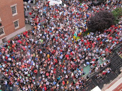 The huge crowd<br/>