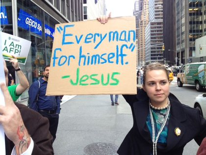 Occupy protester Brittany Anderson sports her sign