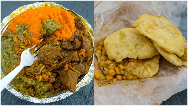 Curry Goat on Peas and Rice with Pumpkin and Callaloo (left); $2 Doubles