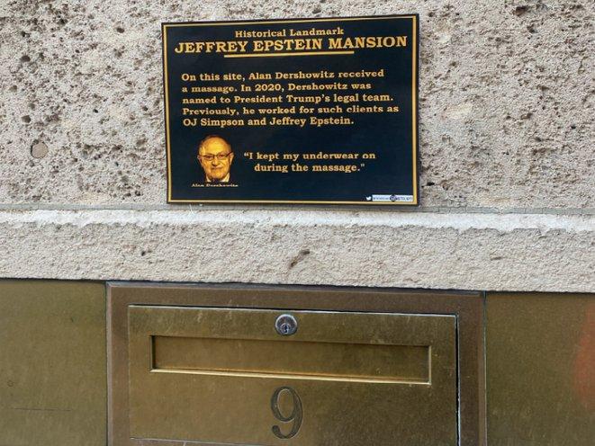 Alan Dershowitz plaque at Jeffrey Epstein's UES mansion