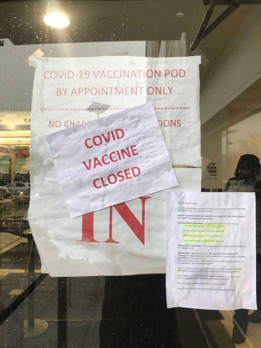 Some people showed up at Queens Hospital Center Monday looking to get a second dose of the vaccine after their original appointments had been canceled due to shipping delays.