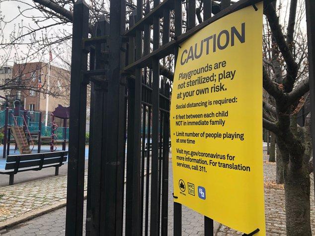 A photo of the playground warning signage
