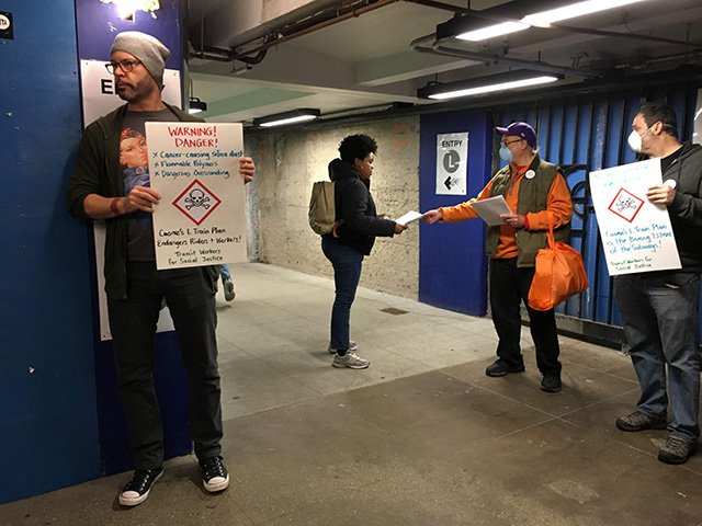 Transit workers leafletted at Bedford Avenue on Wednesday morning.
