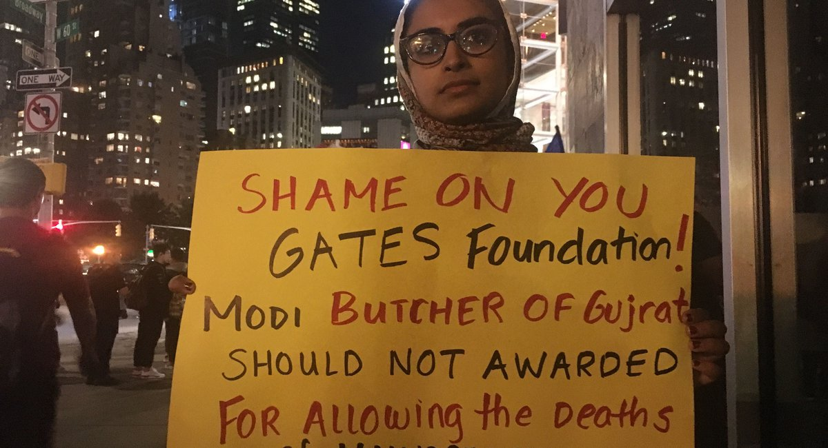Protesters Call Indian Prime Minister Modi 'The Butcher Of Gujrat' As He's Honored By Gates Foundation In NYC