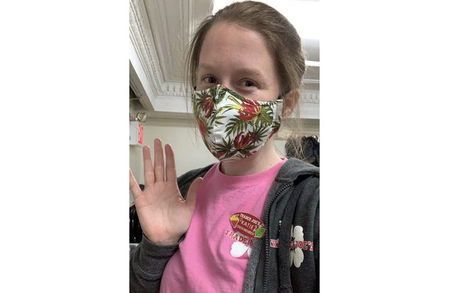 Katie, a worker at Trader Joe's, with a mask on