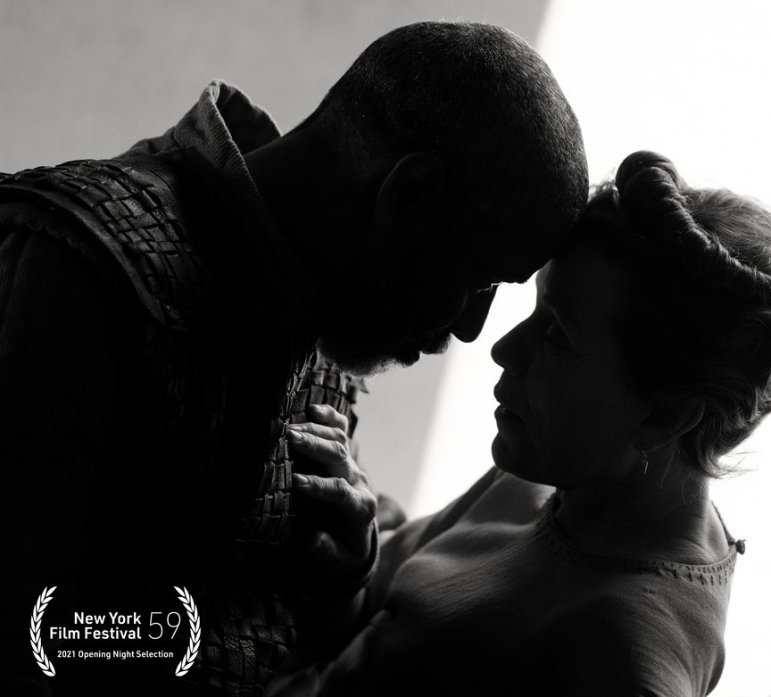 Black and white photograph of Denzel Washington and Frances McDormand in an embrace, and in silohoueette