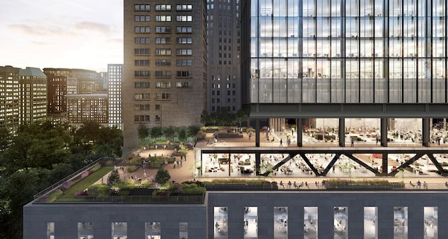 A rendering of the proposed office building at One Madison.