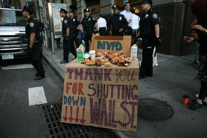 Protesters set food out for the NYPD