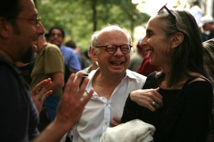Playwright Wallace Shawn and author Deborah Eisenberg stopped by Zuccotti Park.