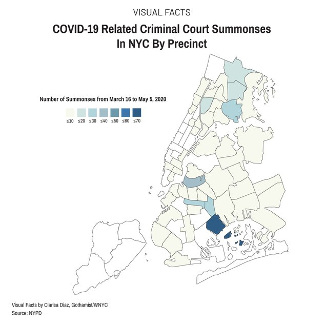 Heat map of the five boroughs broken down by precinct that shows areas where summons have been issued. The more summonses issued, the darker the color. Brooklyn and the Bronx have had the most summonses. The 69th precinct in Canarsie had the most.