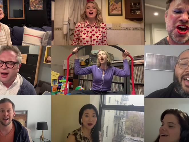 A screenshot of a YouTube video with Broadway actors singing a remind to stay at home.