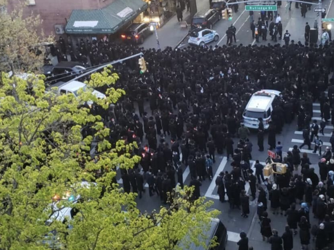 The funeral at Bedford Avenue and Rutledge Street on Tuesday night