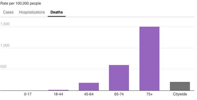 Chart showing the demographics of those who have died from confirmed cases of COVID-19. The chart is broken down by age, sex, and borough and whether or not the person had underlying conditions. Overall, most of the people who have died have had underlying conditions. For age group, those 75 or over are most at risk. Males are at higher risk than females. Queens has been the borough with the most deaths.