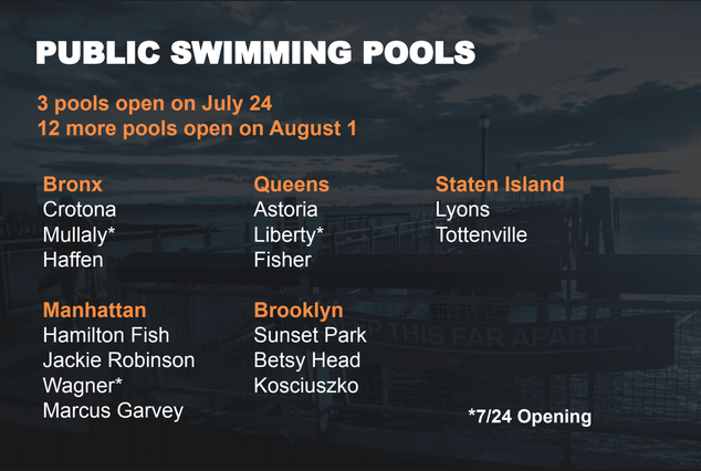 A screenshot of the city's list of public pools opening in July and August 2020