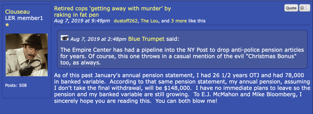 """A post from """"Clouseau,"""" an account allegedly used by a high-ranking NYPD officer"""