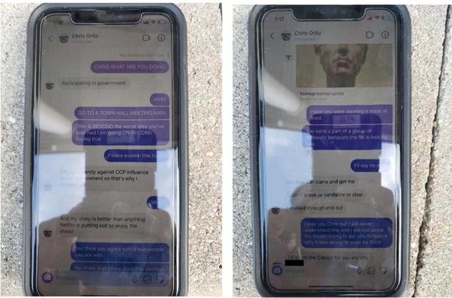 Instagram messages allegedly sent by Ortiz
