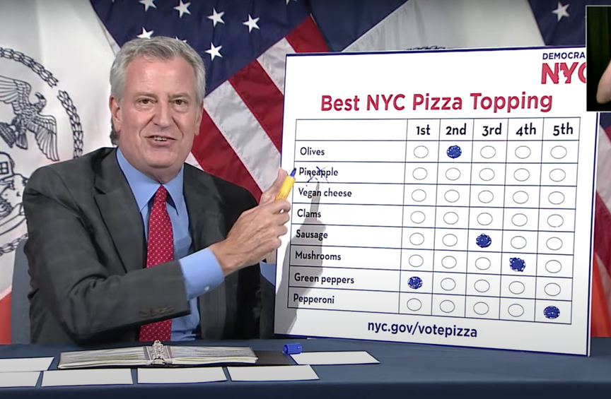 A photo of Mayor Bill de Blasio and his ranked choice pizza toppings ballot