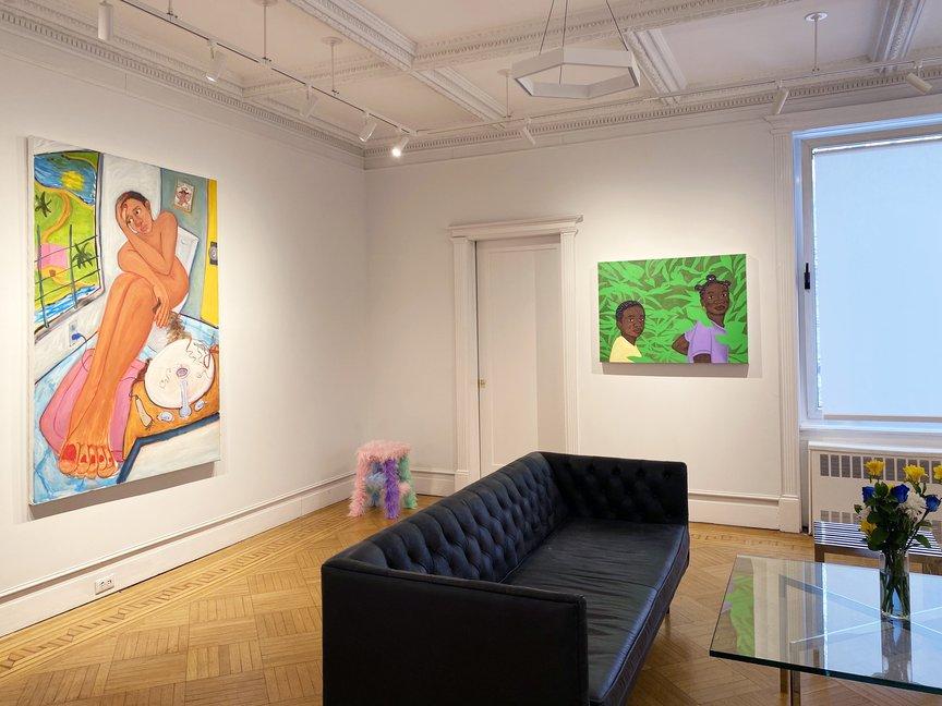 pieces inside the Jenkins Johnson Gallery - Works by Monica Hernandez, Uzumaki Cepeda, Tiffany Alfonseca