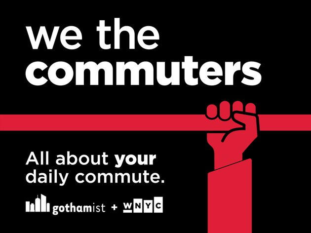 The red and black We the Commuters logo that features the WNYC and Gothamist logos