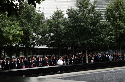 At the 9/11 Memorial<br/>