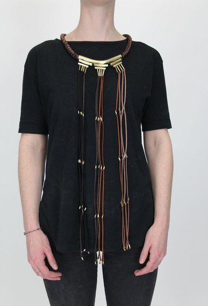 """Alejandro Moyano designed a """"Rosary Bead"""" necklace where people tie knots for every day loved ones are gone and reflect on their absence<br>"""