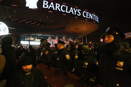 There was one arrest, after some demonstrators entered the subway station closest to the Barclays Center and were forced back upstairs by police.<br>