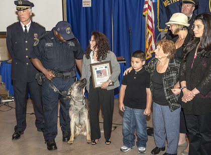 MTA Police Officer Jason Wharton, Mikey and the family of late MTA Police Officer Michael Aurisano
