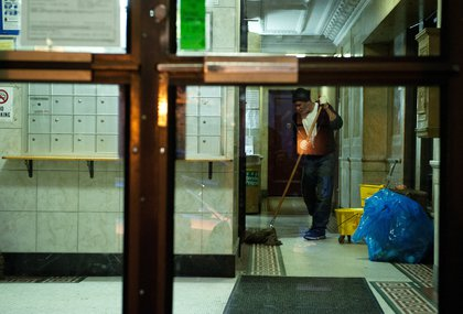 A worker inside Spencer's building (Getty Images)