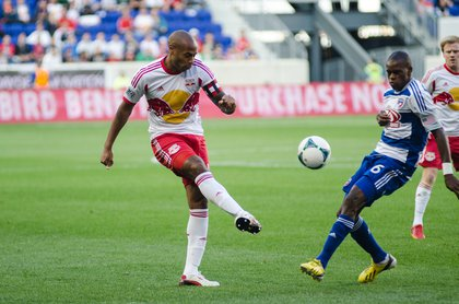 Thierry Henry plays a ball into the box during first half action.