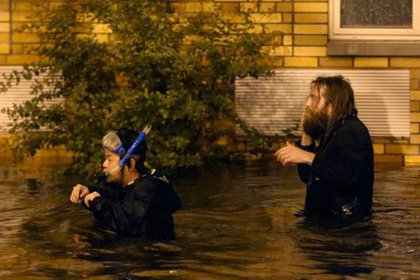 """""""Dude in snorkeling mask trying to rescue his friend in Greenpoint"""" (Gary He)"""