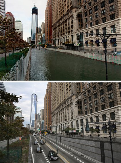 [Top] Hugh L. Carey Tunnel sits flooded after a tidal surge caused by Hurricane Sandy, on October 30, 2012 in New York City. [Bottom] Traffic passes from Manhattan into the Hugh L. Carey Tunnel on October 22, 2013 in New York City.