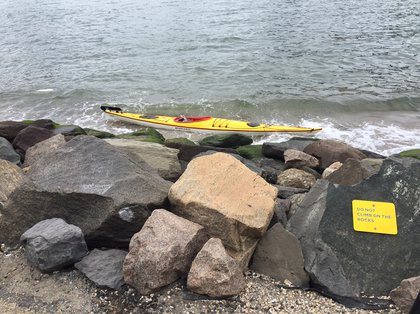 The kayak was found in the water (Brandon Cosby)