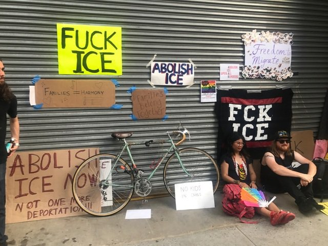 Outside the ICE Facility at 201 Varick Street earlier this week