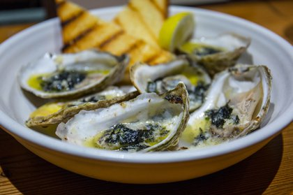 Grilled Oysters in seaweed butter ($14)<br/>