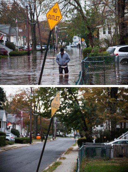 [Top] A man walks through a flooded street after Superstorm Sandy October 30, 2012, in Little Ferry, New Jersey. [Bottom] October 22, 2013.