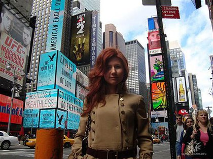 """Anna Chapman, from her Odnoklassniki (""""Classmates"""") page.  The caption reads """"Russia, Moscow. Left 4 dead???"""""""