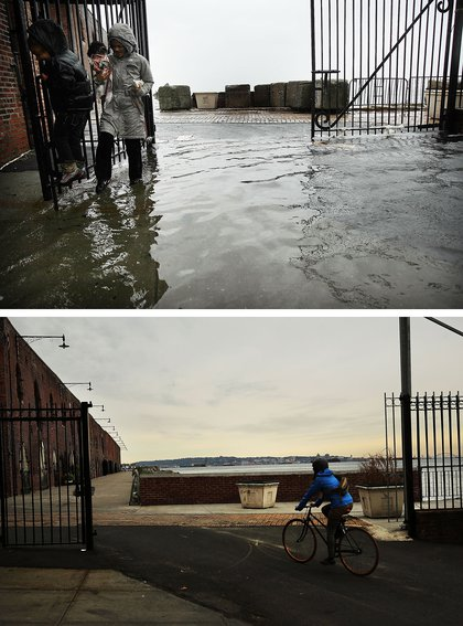 [Top]  A woman and child walk through water on a flooded street as Hurricane Sandy moved closer to the area on October 29, 2012 in the Red Hook section of the Brooklyn borough of New York City. [Bottom A person rides a bike there on October 23, 2013.