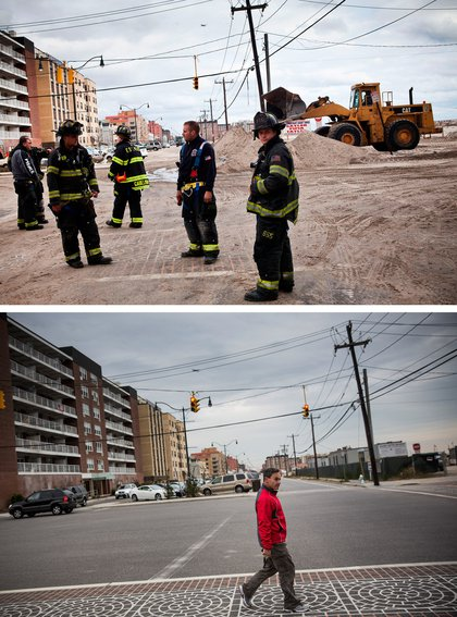 [Top] Fire fighters walk the streets of Long beach, which experienced heavy flooding and dune erosion due to Hurricane Sand October 31, 2012 in Long Beach, New York. [Bottom] A man crosses the street in Long Beach, New York Octobter 22, 2013.