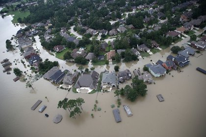 Flooded homes are shown near Lake Houston following Hurricane Harvey.<br>