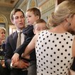 Ivanka Trump (right), Jared Kushner, White House senior advisor to the president for strategic planning, and two of their children greet members of the armed forces and their families during an event celebrating National Military Appreciation Month and National Military Spouse Appreciation Day in the Eisenhower Executive Office Building on May 9, 2017.